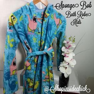 Handmade Sponge Bob's Kids Fleece Robe With Pocket